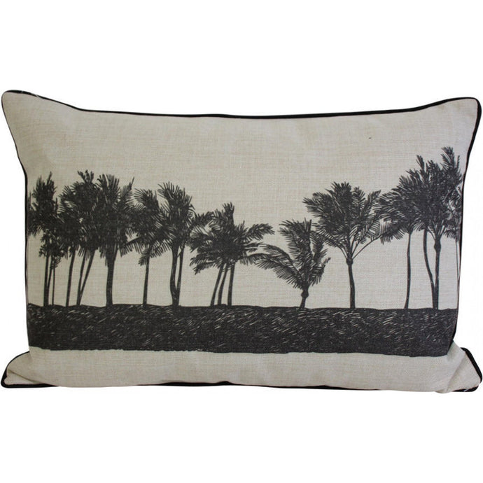 Black Row of Palms Cushion - Vida Style