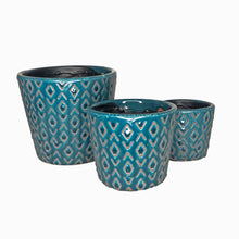 Load image into Gallery viewer, Navy Aztec Ceramic Pot