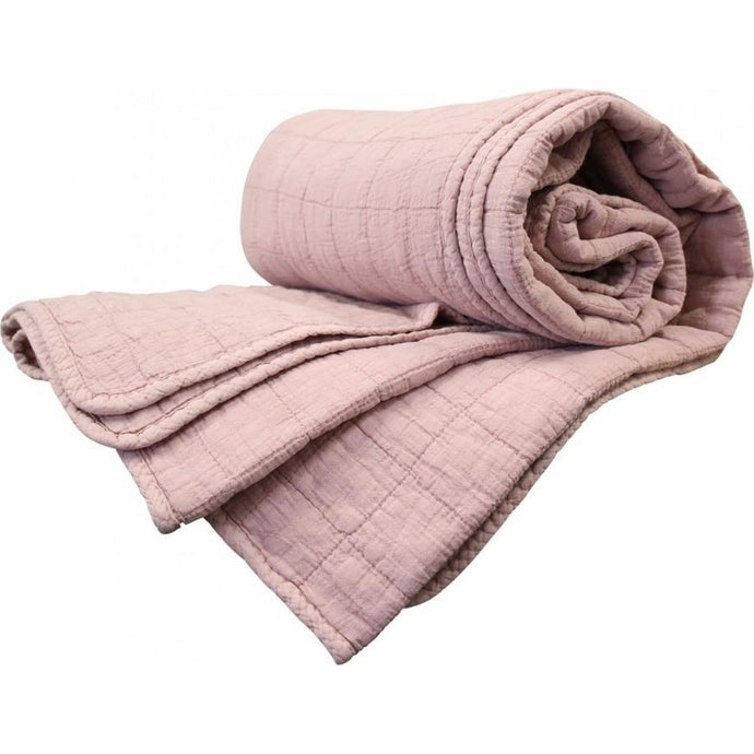 Dusty Pink Quilted Throw - Vida Style