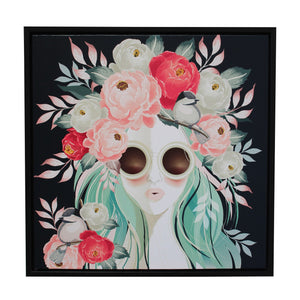 Vogue Floral Framed Canvas - 60x60