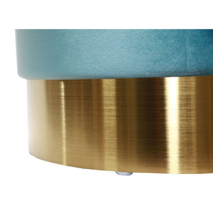 Luxe Teal Velvet Gold Belted Storage Ottoman - Vida Style