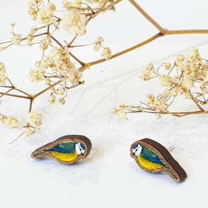 Blue tit small stud earrings