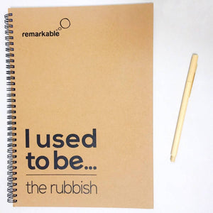 Stationery Set: Recycled Notebook and Refillable Bamboo Pen