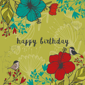 HAPPY BIRTHDAY - Floral Green