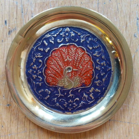 Peacock alter brass plate