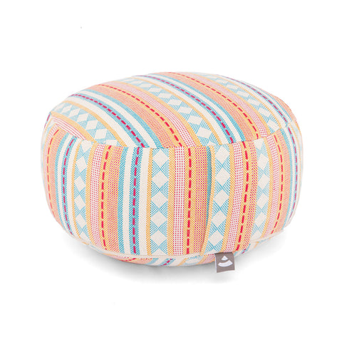 Meditation cushion round Ethno pattern 17cm hight (Apricot)