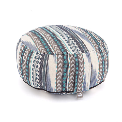 Meditation cushion round Ethno pattern 17cm hight (Blue)