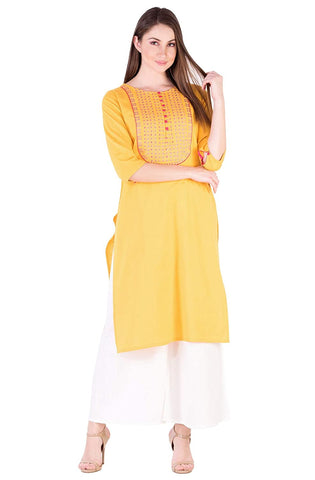 Woman's Yellow cotton kurta with pink embroidery (KY10)