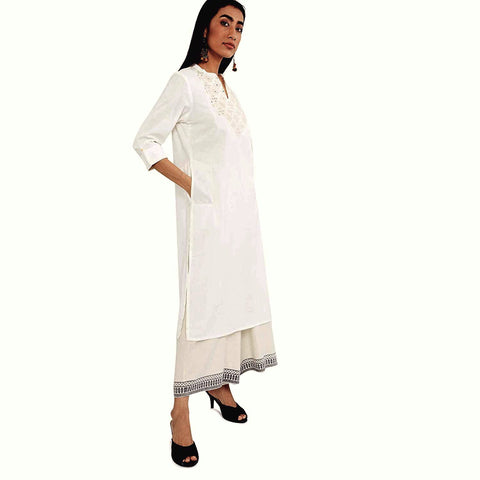 Woman's White cotton kurta with Beige embroidery (KW10)