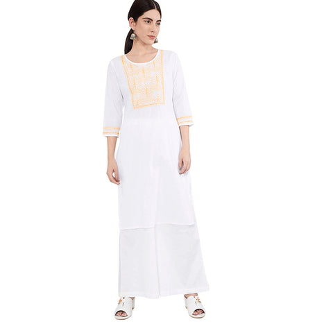 Woman's White cotton kurta with Yellow embroidery (KW21)