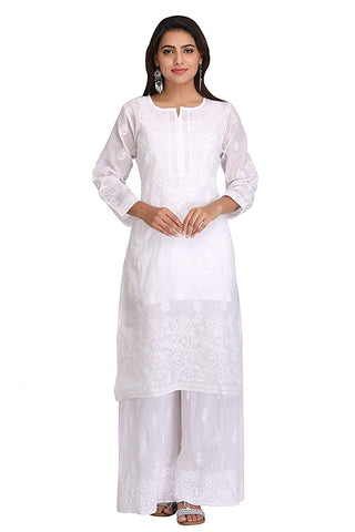 Woman's Hand Embroidered Cotton Chikan Kurta - White (A220999)