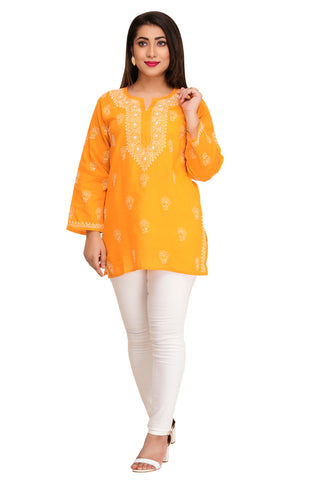 Woman's Hand Embroidered Cotton Chikan Kurta - Orange (A250565)