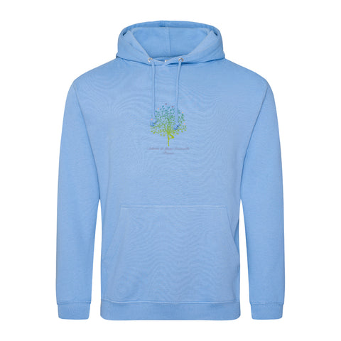 NEW! Unisex Hoodie Sweatshirt with Ashram Tree - Cornflower Blue
