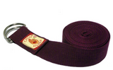 Yoga strap 100% Organic cotton ½ moon Buckle (Burgundy)