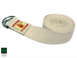 Yoga strap 100% Organic cotton ½ moon Buckle (White)