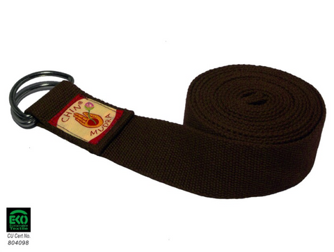 Yoga strap 100% Organic cotton ½ moon Buckle (Chocolate)