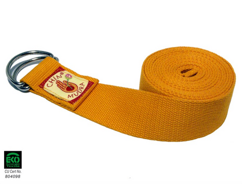 Yoga strap 100% Organic cotton ½ moon Buckle (Orange Safran)