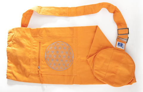 Yoga mat bag with flower of life (Orange)