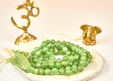 Natural Green Jade Mala (8mm beads)