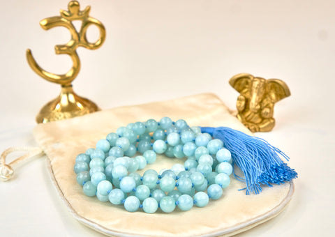 Blue Aquamarine Mala (8mm beads)