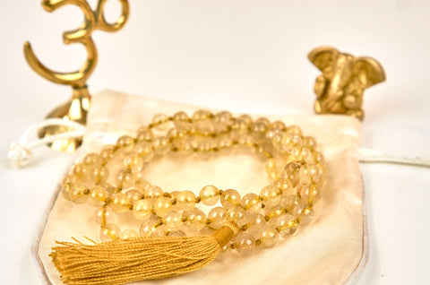 Gold Rutilated Quartz Mala (8mm beads)