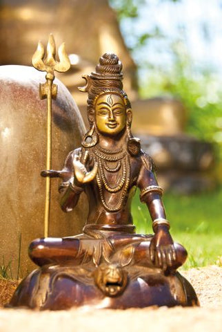 Siva sitting pure brass statue - extra large 18cm