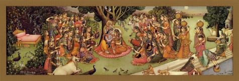 Gopis Worship the Divine Couple Poster (04S)