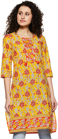 Woman's Yellow and Red Cotton Kurta (RE21)