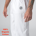 100% Organic Cotton White Unisex Traditional Yoga Trousers (with embroided OM)