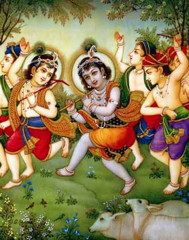 Krishna Plays With Cowherd Boys Poster (17L)