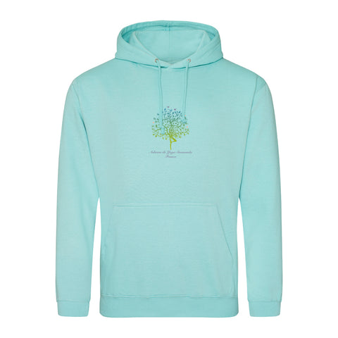NEW! Unisex Hoodie Sweatshirt with Ashram Tree - Mint Green