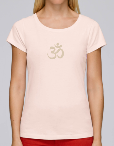 100% Organic Cotton Candy Pink Women's T-shirt (White Om)