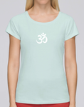 100% Organic Cotton Caribbean Blue Women's T-shirt (White Om)