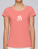 100% Organic Cotton Flamingo Pink Women's T-shirt (White Om)