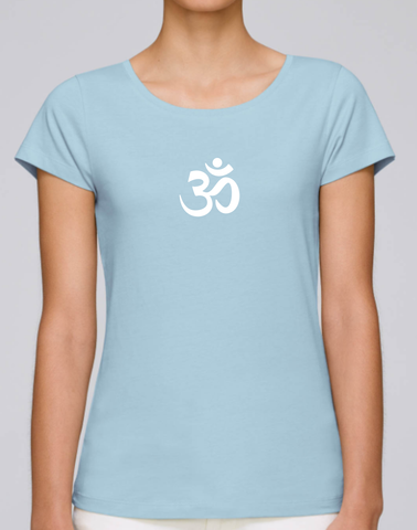 100% Organic Cotton Sky Blue Women's T-shirt (White Om)