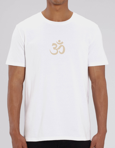 100% Organic Cotton White Men's Unisex Yoga T-shirt (Cream OM)