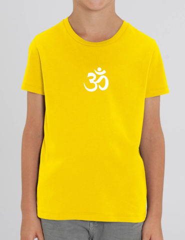 Organic Cotton Yellow Children's T-shirt (Om in white)
