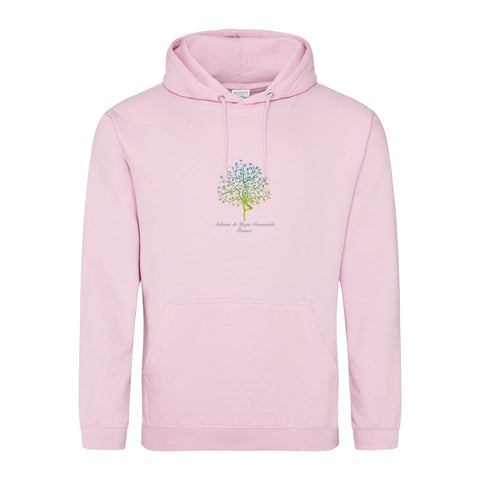 NEW! Unisex Hoodie Sweatshirt with Ashram Tree - Baby Pink