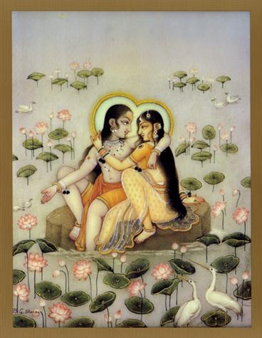 Radha & Krishna in Lotus Pond Poster (07S)