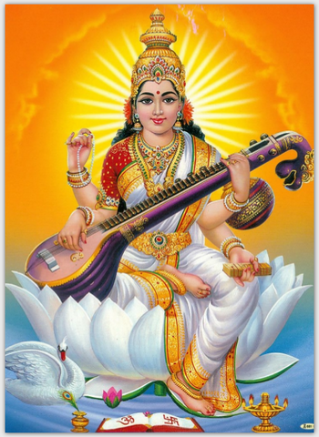 Saraswati Orange background Extra Thick Postcard