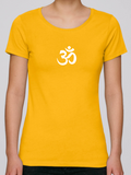 100% Organic Cotton Yellow Women's T-shirt (White Om)