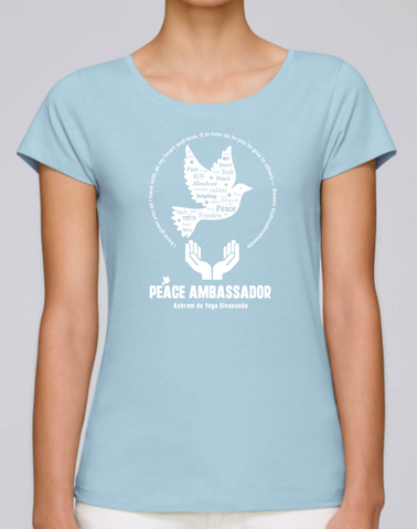 100% Organic Cotton Blue Women's T-shirt (Peace Ambassador)