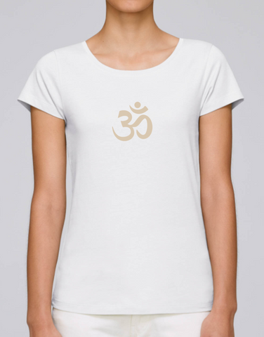 100% Organic Cotton White Women's T-shirt (Cream Om)