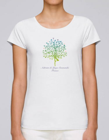 100% Organic Cotton White Women's T-shirt (Ashram Tree)