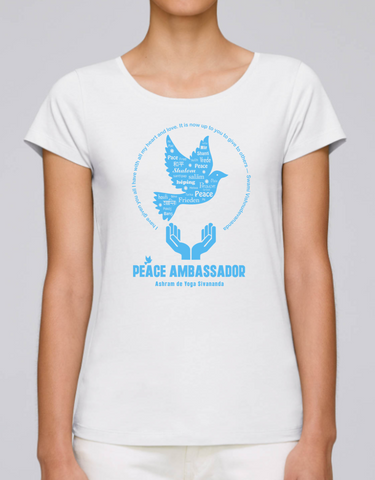 100% Organic Cotton White Women's T-shirt (Peace Ambassador)