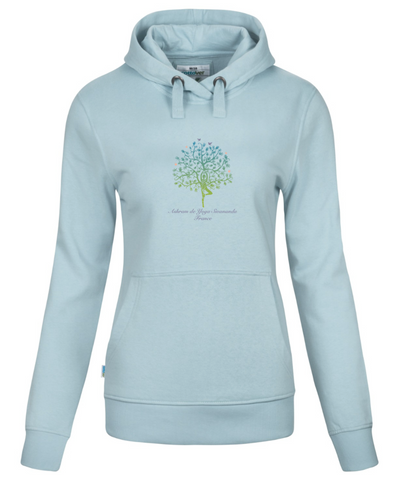 Blue Organic Hoodie Female Sweatshirt with Ashram Tree