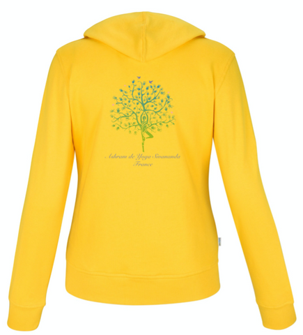 Organic full zipped Hoodie Sweatshirt jacket for Women - Yellow with Ashram Tree