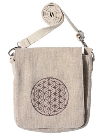 "JUTE Handbag with  ""Flower of Life"" embroidery"