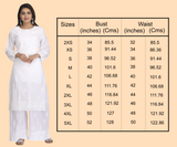 Woman's Hand Embroidered Cotton Chikan Kurta - White (A208441)
