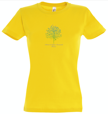 NEW! Women's Standard Cotton Slim Fit T-shirt with Ashram Tree - Yellow